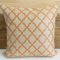 Designer pillow cover, Orange and tan quatrefoil pillow