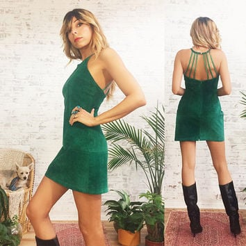Vintage 1970's 1980's Emerald Green SUEDE Mini Dress || Braided Cut Out Back || Cocktail Evening Dress || Size Small US 4 to 6