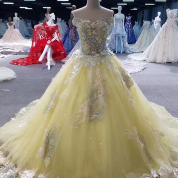 Plus Size Ball Gown Bridal Gowns Real Photo 2018 Yellow High Quality Elegant Luxury Lace Appliques Cheap Wedding Dresses
