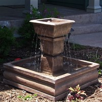 Outdoor Classics Square Courtyard Fountain
