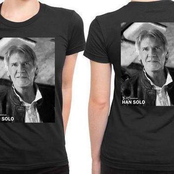 ESBH9S Star Wars The Force Awakens Han Solo In Memoriam 2 Sided Womens T Shirt
