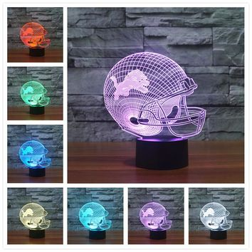 Colorful Detroit Lions American Professional Football Association 3D Visual Table Lamp Illusion Baby sleeping Light Decor