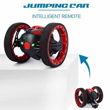 Mini Cars Bounce Car PEG SJ88 2.4GHz RC Car with Flexible Wheels Rotation LED Light Remote Control Robot Car Toys for Gifts