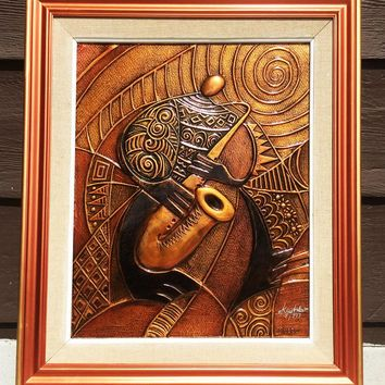 """""""Sax"""" Copper Relief Framed"""