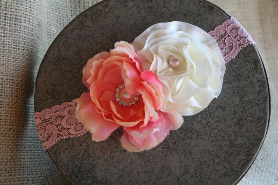 Stretch Lace Headband with Satin Rosettes