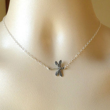 Dragonfly Necklace - Silver Dragonfly Necklace - Nature Inspired Jewelry - Insect Necklace - Bug Necklace - Animal Jewelry, Mothers Day Gift