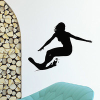 WALL DECAL VINYL STICKER SPORT SURFING SURFER SURFBOARDING DECOR SB501