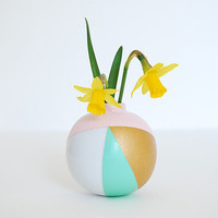 Small Vase Ball. Pastel colors. Printed Waves. Mint, Pink and Gold. Genuine porcelain. Flower Pot. Minimalist and colorful . White Ceramic