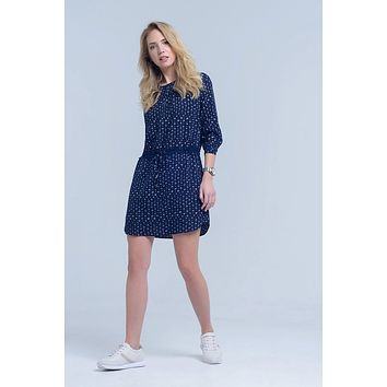 Blue Crew Neck 3/4 Sleeve Pleated Midi Dress