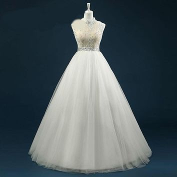 Crew Neck Tulle Lace Wedding Dress Lace Beaded Applique Floor Length