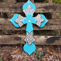 Brown Damask and Desert Turquise Handmade Layered Cross