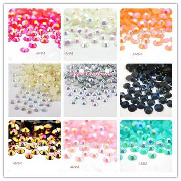 Lucia crafts 4MM 1000pcs/lot Multicolor AB DIY Flatback Resin Rhinestones DIY Mobile Phone Nail Art Craft 12030432(AB1000)