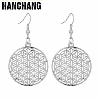 Vintage Myth Love Supernatural Flower of Life Egyptian Drop Earrings For Women Jewelry Hollow Life Flower Earrings
