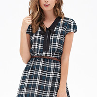 FOREVER 21 Tartan Plaid Collar Dress Black/Teal
