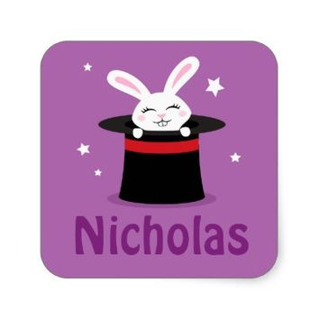 Rabbit in magicians hat personalized name