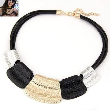 Vintage Choker Statement Necklace Women Bijoux Rope Chain Geometric Necklaces & Pendants Big Chunky Necklaces Summer Jewelry