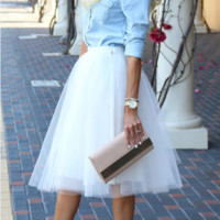 Women Summer Fashion Solid Big Hem Sheer Chiffon Circle Skater Midi Skirt White