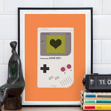 Video game poster, play room art, baby boy room, gameboy print, video game art, gaming art, retro print, geekery poster, orange print