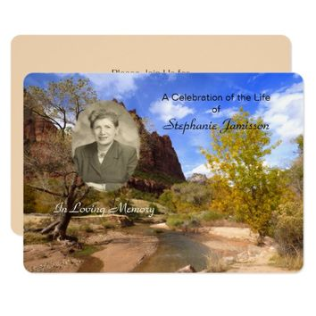 Celebration of Life Invitation, Scenery with Photo Card