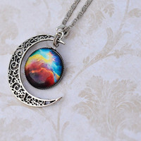 Moon Rainbow Colorful Galaxy Space Nebula Glass Cabochon Pendant Silver Necklace