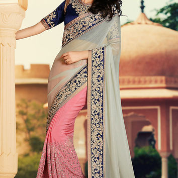 White and Peach Georgette Party Wear Saree