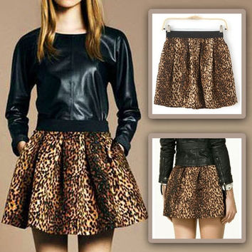 Women Sexy Summer Leopard Pleated Elastic Waist Short Tutu Bubble Bouffant Skirt  SV004472
