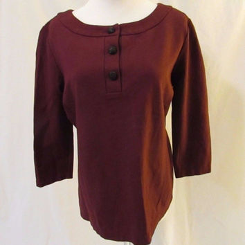Talbots Scoop Neck Henley Shirt Top Women's Small Burgundy 3/4 Length Sleeves