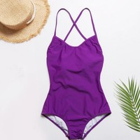 2019 New Solid Color Bikini Bandage Swimsuit One Piece