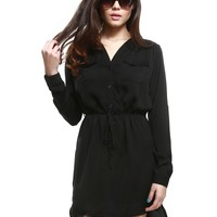 Black Satin Button Down Dress | $9.99 | Cheap Trendy Little Black Dresses Chic Discount Fashion for