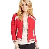 Free People Red Crochet Bomber Jacket Medium ❤️❤️