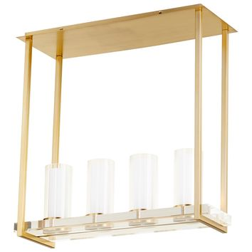 Orion Aged Brass & Acrylic 4-Light Ceiling Mount Island Lighting Fixture by Cyan Design