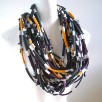 Cyber Monday Etsy Chunky Striped Infinity Scarf Upcycled Circle Scarf Gray White Green Gold Maroon Cowl Winter Accessories Gifts Under 50