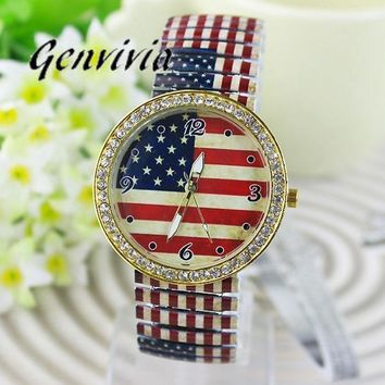 GENVIVIA New Women Fashion Flag Parten Diamond Watch Roman Numerals Elasticity Analog Quartz Wrist Watch