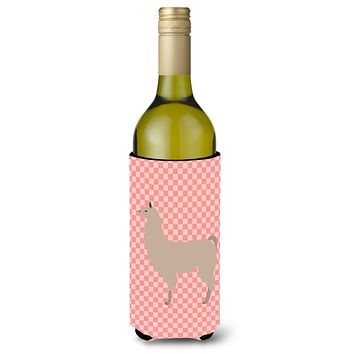 Llama Pink Check Wine Bottle Beverge Insulator Hugger BB7916LITERK