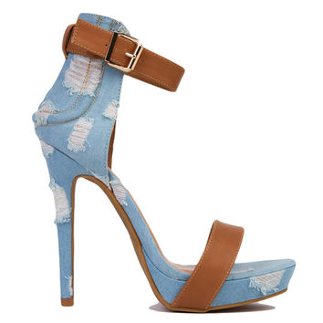 Distressed Denim Open Toe Ankle Strap Mocha Heels