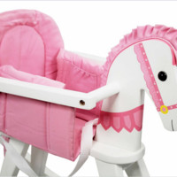 Teamson Kids- Safari White Rocking Horse w/Pink Pad-TD-0003A