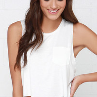 Tank-ly Speaking Ivory Crop Tee