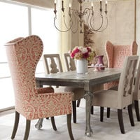 """Liday"" Dining Table, ""Benjamin"" Carved-Back Chair, and Pink Damask Wing Chair - Horchow"