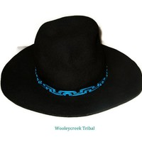 Peruvian Wave Hat Band Tribal Made In Turquoise And Black