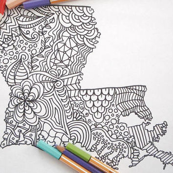 coloring louisiana map kids adult coloring tourist travelmap doodle instant download usa home decor printable print digital lasoffittadiste