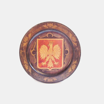 Vintage Decorative Wood Wall Plate, Shield / Crest, Brass Inlay