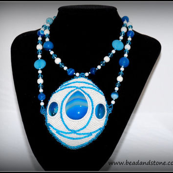 Statement necklace - bead embroidery necklace - beaded jewelry - blue, white - beaded necklace - handmade