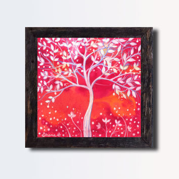 Abstract Print Red  Landscape -  White tree Painting, Fantasy Art , Wall and home decor, Vibrant color Print