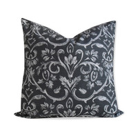 Damask Charcoal Gray Pillow Cover - Same Fabric BOTH Sides - INVISIBLE Zipper