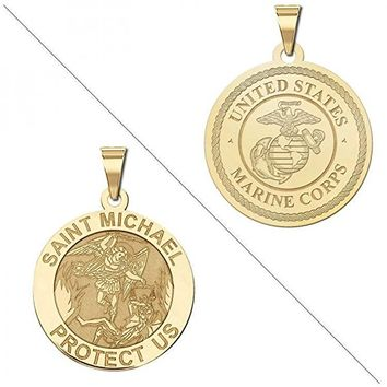 Saint Michael Doubledside MARINES Religious Medal 14K Yellow or White Gold or Sterling Silver