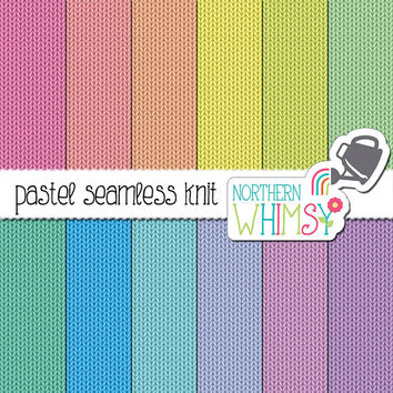 Pastel Knit Digital Paper – seamless knit patterns in pink, peach, yellow, mint, blue, & purple - spring knit backgrounds - commercial use
