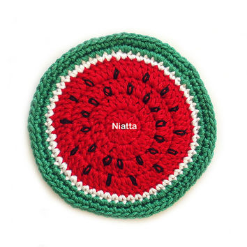 Watermelon Coaster Crochet Table Decoration Fruit Coaster Motif Doily Set 4 Handmade Niatta