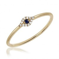Mini Diamond Evil Eye Stack Ring by EF Collection