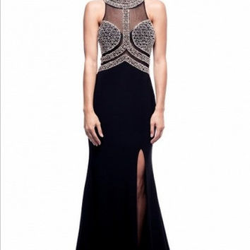 Kari Chang KC15 Black High Neck Beaded Sheer Ilusion Prom Dress
