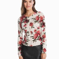 White House Black Market Rose Printed Cardigan